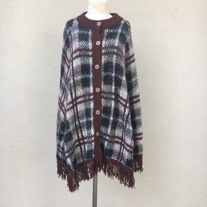 Vintage brushed acrylic button front poncho